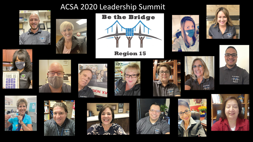 "Members of Region 15 wearing shirts with their theme this year: ""Be the Bridge."